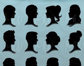 Woman Profile Silhouettes, Men Profile Silhouettes, Vector, Illustration, Women, Profile, Silhouette, Clipart, Head, Instant, Download, #015