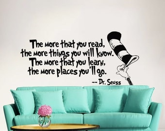 Dr Seuss Wall Decal Quote Vinyl Sticker Decals Quotes The More That You Read Decal Quote Sayings Wall Decor Nursery Art Kids Baby ZX271