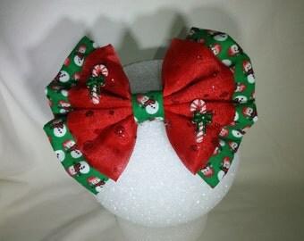 Christmas Snowman Hair Bow