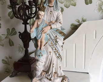 Antique French religious item handpainted Holy Virgin Mary plaster statue with cherubs and Child Jesus shabby chic timeworn Victorian