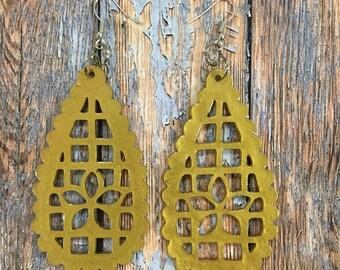 papel picado gold teardrop dangle earrings