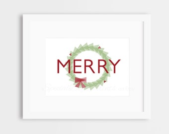 Merry Christmas Digital Download, Digital Print, Printable Art- 5x7-8x10-11x14-Home Decor-Holiday-Winter-Christmas-Geometric-Red-Green