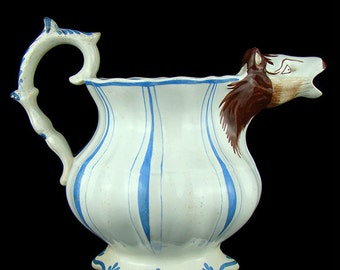 1800s antique earthenware pitcher or large creamer, cow head animal spout, English Staffordshire, early 19th century, white blue, handle