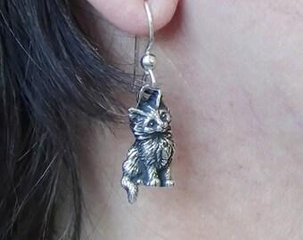 Maine Coon Kitten Earrings in Sterling Silver,Pierced Earrings,Two Maine Coon Kittens,Sterling Kitten Earrings,Silver Cat Jewelry,Furry Cats