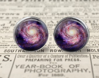 Galaxy Earrings, Space Earrings, Large 16mm Stud Earrings or Dangle Earrings , Space Jewelry, Astronomy Jewelry, Galaxy Jewelry