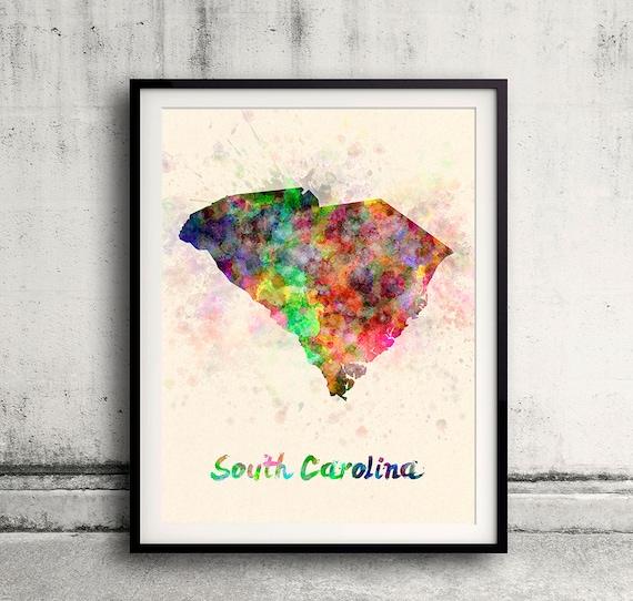 South Carolina Home Decor South Carolina Art Columbia Sc: South Carolina State In Watercolor INSTANT DOWNLOAD 8x10