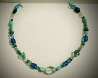 Memory wire blue, green, and turquoise necklace