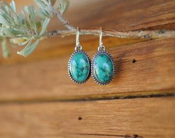 Beaded Turquoise Dangle Earrings | Sterling Silver
