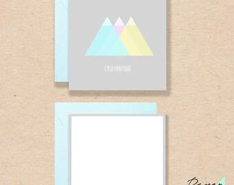 Birthday Card minimalist pastel triangle