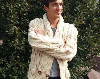 Knitted Cardigan, Men's Cardigan, Men's Sweater, Wool Cardigan, Men's Fashion