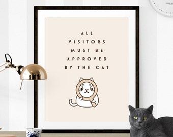 Cute Cat Print, Funny Cat Print, Cat Printable, Cat Quote Print, Cat Quote Printable, Meow Print, Cat Printable Art, Gift for Cat Lover