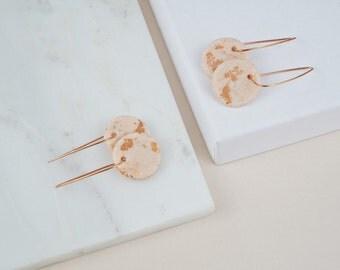 Copper hoop earrings, blush earrings, glitter earrings, polymer clay jewelry, geometric earrings, gift for her, minimal hoop earrings