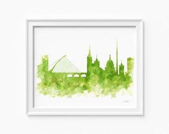 "Dublin watercolor skyline, printable file (JPEG) download and print any size between 5""x7"" and 16""x20"", Art, Wall art, home decor"