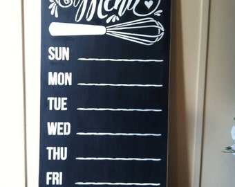 "Wood sign 'This Week's Menu' 12"" x 24"" chalkboard sign kitchen menu wall sign chalk kitchen menu board menu planning wall sign"