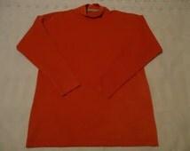EUC Sm.Calvin Klein Sport Mock L/S Turtleneck Shirt,Dark Orange,Suede Feel Material,Made In USA