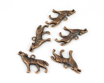 Antique Copper Howling Wolf Charms - 5 Pieces