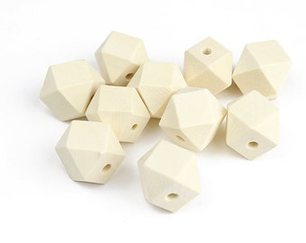 Large Faceted Wood Beads - 20mm x 20mm Polyhedron Beads - 10 Pieces