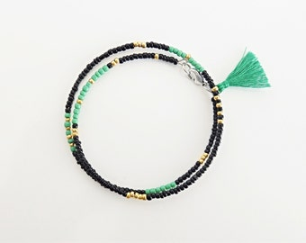 50%OFF Use Code: 50OFF - green & black bracelet, friendship bracelet,bohemian jewelry,beaded bracelet