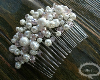 Bridal hair accessories, Bridal comb, Pearl comb, Bridal hairpiece, Rosy comb, Crystal comb, Bridal pearl comb with pink crystals