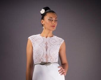 Wedding dress,  White wedding dress, Lace Bridal dress, Illusion lace Bridal dress