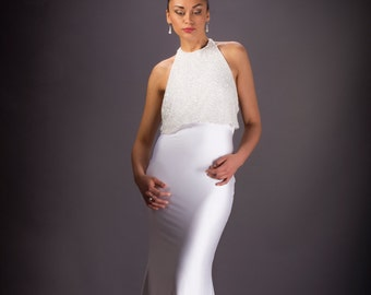 Open Backless Wedding dress, Lace beading wedding dress, Bridal dress, Wedding dress, Gown.
