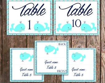 Baby Shower Table Numbers and Guest Place Cards - Table Numbers 1 - 10 - Blue Whale Baby Shower Decorations Table Signs Aqua and Navy Waves