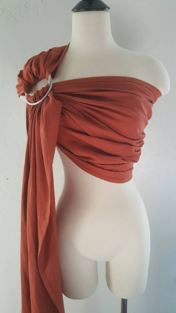 Orange, rust, pumpkin ring sling, wrap carrier, baby wearing, baby carrier, fall baby, fall essential