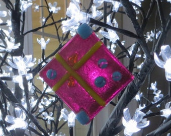 Handmade Fused Glass Christmas Present Ornament