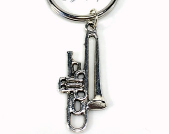 Trombone Keychain, High School Band, Musical Instrument, Gift for Jazz Musician Player Brass Instrument Charm Keyring Silver Key Chain purse
