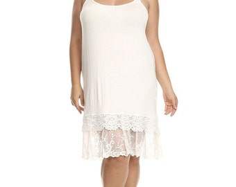 Lace Slip extender PLUS SIZE for dress or skirt to make longer, cami slip lace bottom, 1X 2X 3X Plus Size Lace Slip Extender