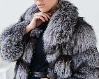 Real fox fur jacket fox fur cape fur coat red fox fur coat