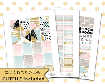 Printable Planner Stickers for use with Erin Condren Life Planner/ABSTRACT Weekly Sticker Kit/Gold Glitter Sticker Set/Silhouette Cutfiles