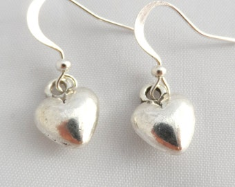Hypoallergenic Silver Heart Earrings - Heart Earrings - surgical steel earrings- titanium earrings
