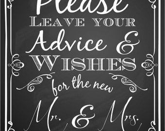 Chalkboard Wedding Wishes and Advice Sign // Instant Download