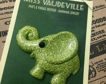 Flappy the sparkly green elephant - Authentic 1940's vintage bakelite reproduction