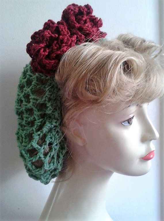 1940s Hairstyles- History of Women's Hairstyles 1940s hair snood green with wine roses new crochet handmade wartime $13.35 AT vintagedancer.com