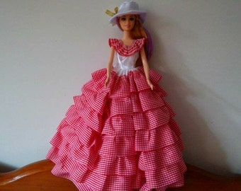 Barbie doll clothes, Satin HAT, Long pink GLOVES, POCKETBOOK,  satin cotton barbie gown, Barbie dress, Barbie ballgown, Barbie fashion