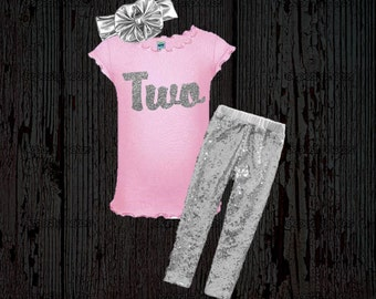 Girl's Birthday Outfit - Silver and Pink Birthday Outfit - Glitter Birthday Shirt