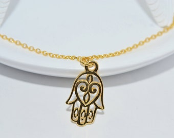 Sterling Silver Hamsa Hand Necklace in 24K Gold & Sterling Silver or Sterling Silver