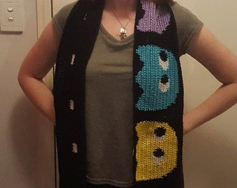 Retro gaming Pacman and the ghosts scarf use code 20off for 20% off