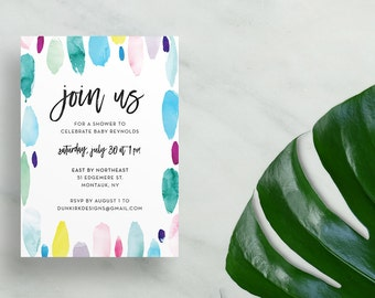 watercolor strokes baby shower invites // colorful bridal shower summer party invites // paint strokes // hand lettered // printable custom