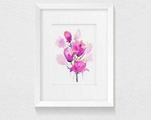Magnolia Watercolor Art Print, digital print, Magnolias, Aquarelle