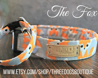 """Dog Collar with optional bff  bracelet """"The Fox"""" FREE SHIPPING! **Please leave your EXACT tight wrist measurement**"""