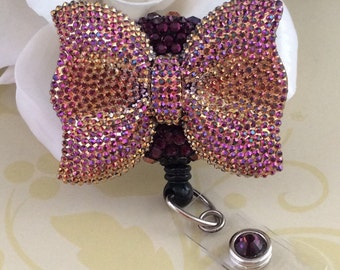 Rhinestone Large Bow Retractable ID Badge Reel, Nurse Badge Reel