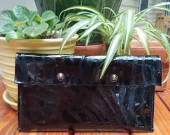 Zebra print leather clutch