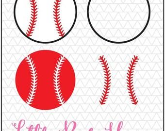 Baseball SVG, Baseball, Softball SVG, Softball, baseball monogram, softball monogram, baseball stitches, svg, silhouette studio, dxf