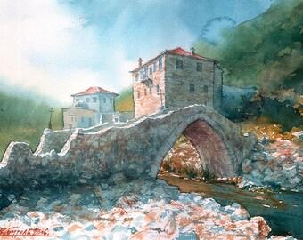 Mount Athos Esphigmenou Monastery Stone Bridge (Print)