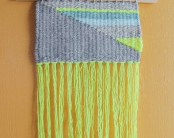 Geometric Grey and Neon Woven Wall Hanging