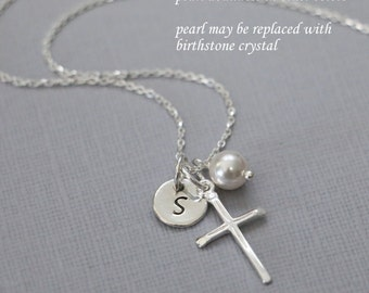 Personalized Cross Necklace, Sterling Silver Cross Necklace, Tiny Cross Necklace, Confirmation Gift, Flower Girl Gift, Baptism Gift