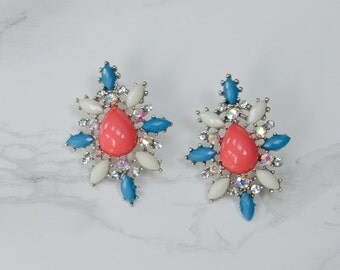 Floral Jewel Earrings Pastel Cluster | 50% OFF